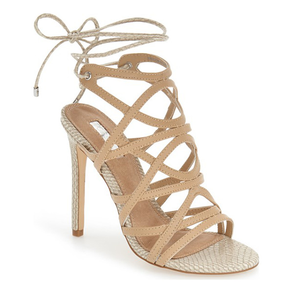 TOPSHOP 'rascal' cage sandal - Snake-embossed accents add a hint of exotic allure to a...