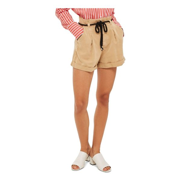 TOPSHOP rope belt cotton shorts - A paperbag waist cinched with a contrast rope belt creates...