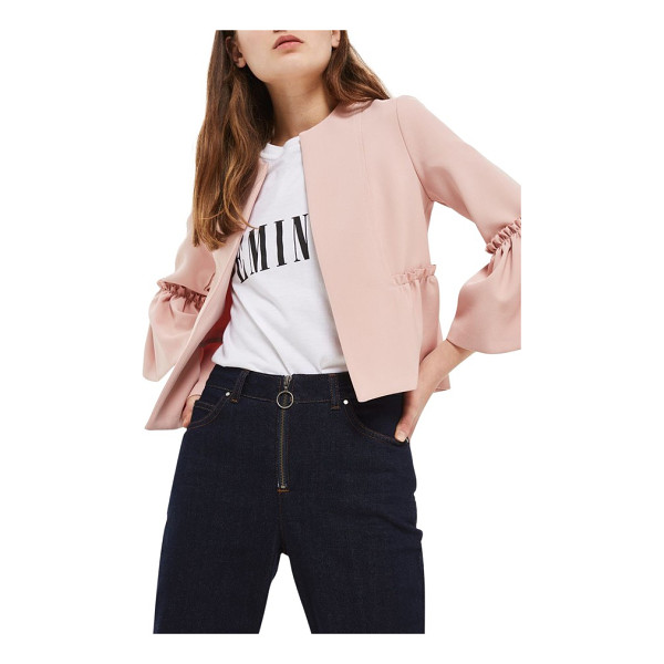 TOPSHOP ruffle crop jacket - Raw, frayed edges join ruffle trim, a peplum hem and bell...
