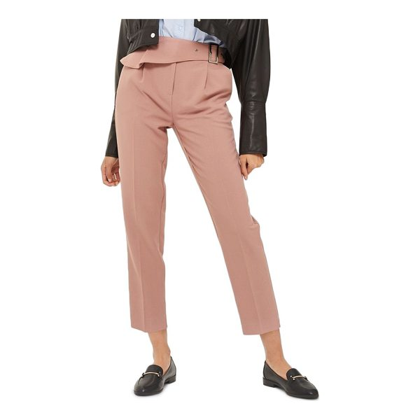 TOPSHOP ruffle detail peg trousers - Wrapped with a fluttery, ruffled half belt at the waist,...