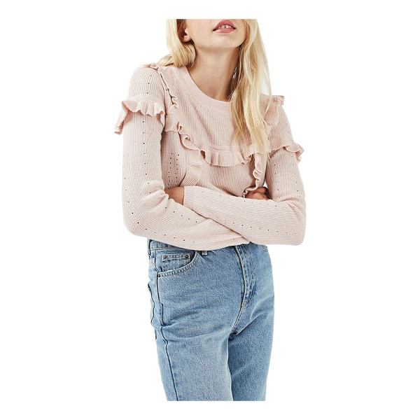 TOPSHOP ruffle yoke sweater - Delicate ruffles join fine pointelle-accented knit for an...