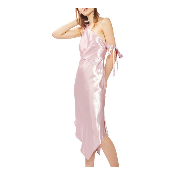 TOPSHOP satin one-shoulder midi dress - One darling tie hangs off the arm for an unkempt yet...