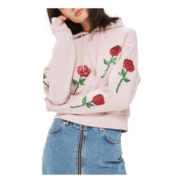 TOPSHOP sequin rose applique hoodie - Glittering rose appliques scatter glam romance over a cute...
