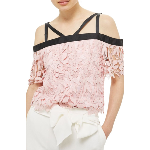 TOPSHOP strappy lace top - Silky grosgrain ribbon encircles the neckline and shoulders...