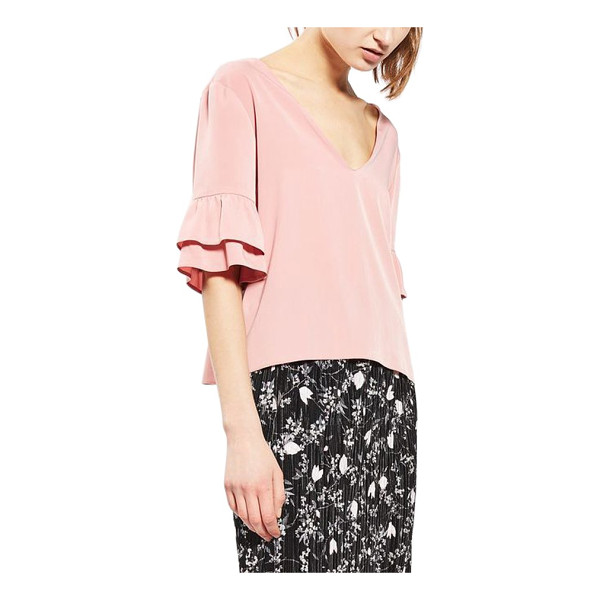 TOPSHOP tie back ruffle sleeve top - Layered ruffled cuffs and a grosgrain ribbon are the...