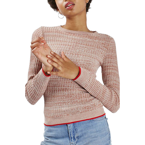 TOPSHOP tipped marl rib sweater - Scarlet tipping outlines the snug cuffs and hem of a marled...