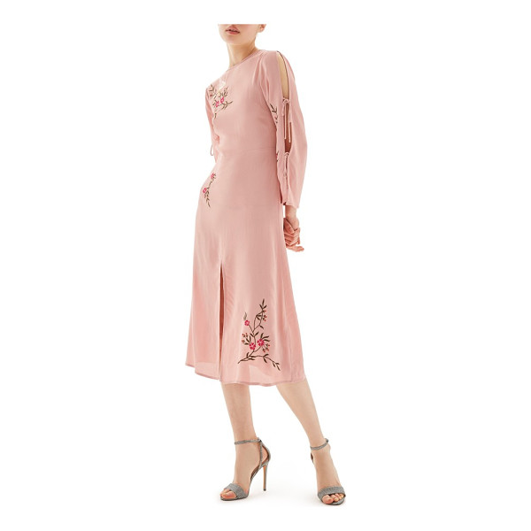 TOPSHOP tokyo embroidered midi dress - An embroidered dove perches atop delicate branches of...