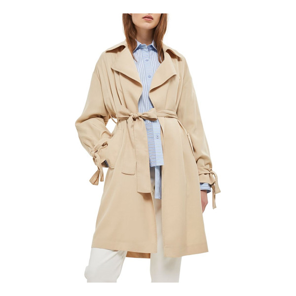 TOPSHOP truster duster coat - Lightweight, silky-soft fabric joins tie details and an...