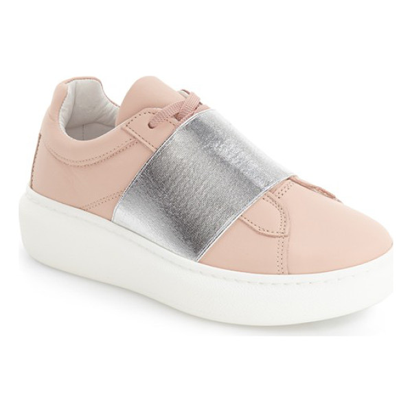 TOPSHOP turin metallic strap platform sneaker - An oversize statement strap crafted from metallic elastic