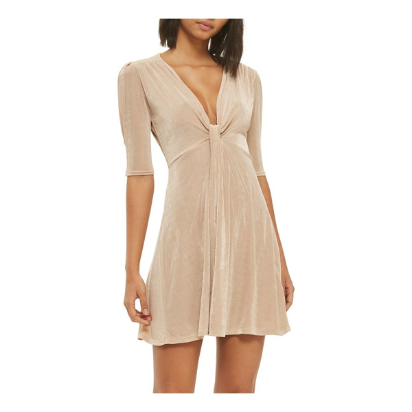 TOPSHOP twist front skater dress - Shoulder shirring ripples down to a knotted plunge...