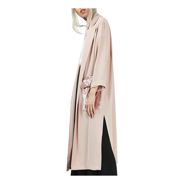 TOPSHOP velvet pocket duster coat - A classic duster silhouette is reinvented with this...
