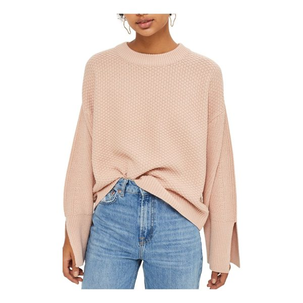 TOPSHOP wide sleeve sweater - Wide long sleeves with deeply split cuffs define the...