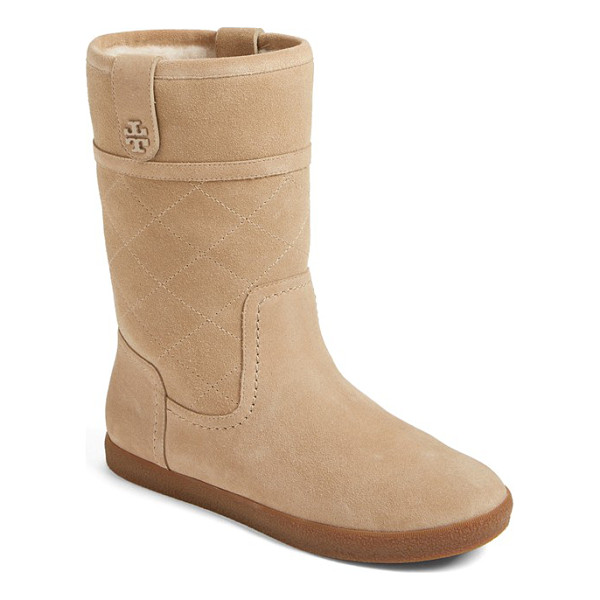 TORY BURCH 'alana' genuine shearling boot - A diamond-quilted shaft and polished logo hardware heighten...