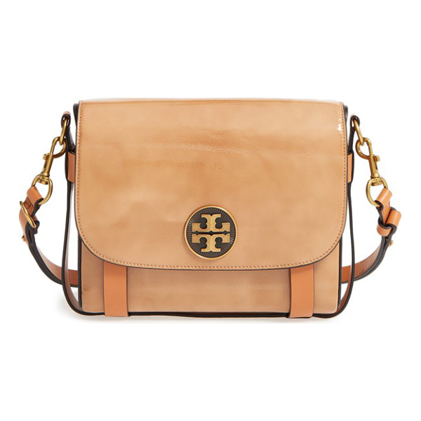TORY BURCH Alastair patent leather shoulder/crossbody bag - A convertible harness bag named for Tory's childhood horse...