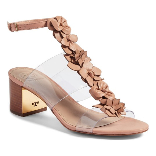 TORY BURCH blossom sandal - Cut-leather blooms march down the vamp of a comfortable...
