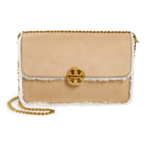 TORY BURCH chelsea leather & genuine shearling shoulder bag - Genuine shearling lining and trim provides a vintage-chic...