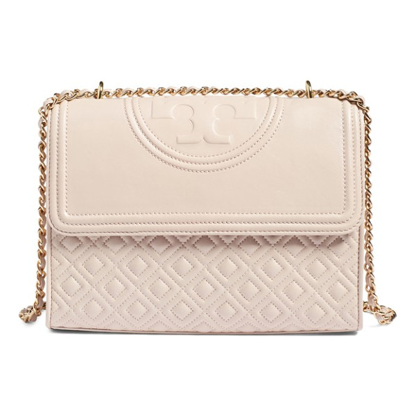 TORY BURCH 'fleming' convertible shoulder bag - A topstitched logo medallion crowns a diamond-quilted