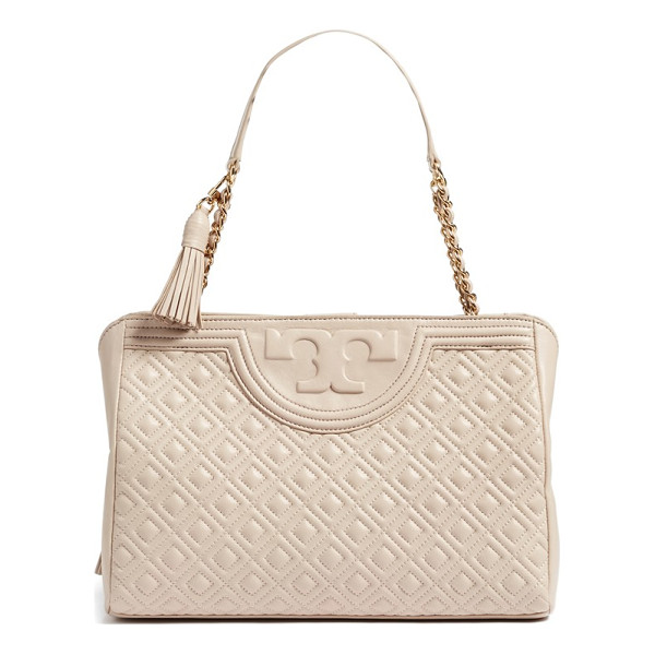 TORY BURCH fleming leather shoulder bag - An embossed T logo and lavish diamond quilting add...