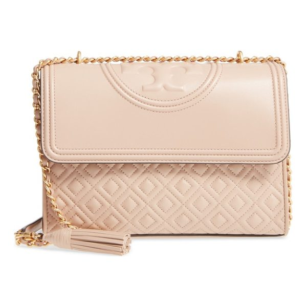TORY BURCH fleming quilted lambskin leather convertible shoulder bag - Diamond-quilted lambskin leather and a topstitched double-T...