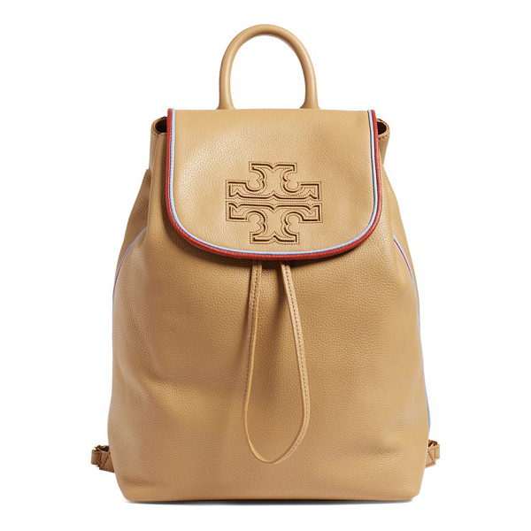 TORY BURCH Harper stripe leather backpack - A slouchy backpack crafted from pebbled calfskin leather...