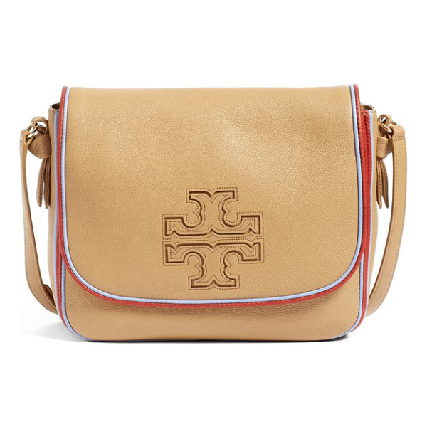 TORY BURCH Harper stripe leather crossbody bag - Classic logo appliques add tonal interest to the front of a...