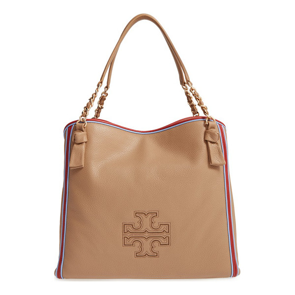 TORY BURCH Harper stripe leather tote - Vibrant piping outlines a slouchy tote crafted from pebbled...