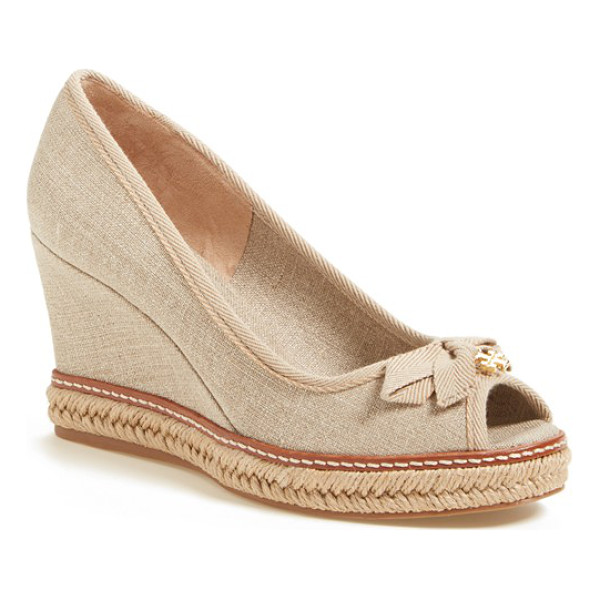 TORY BURCH jackie 2 peep toe wedge - A logo-embellished bow adds a touch of signature flair to a...