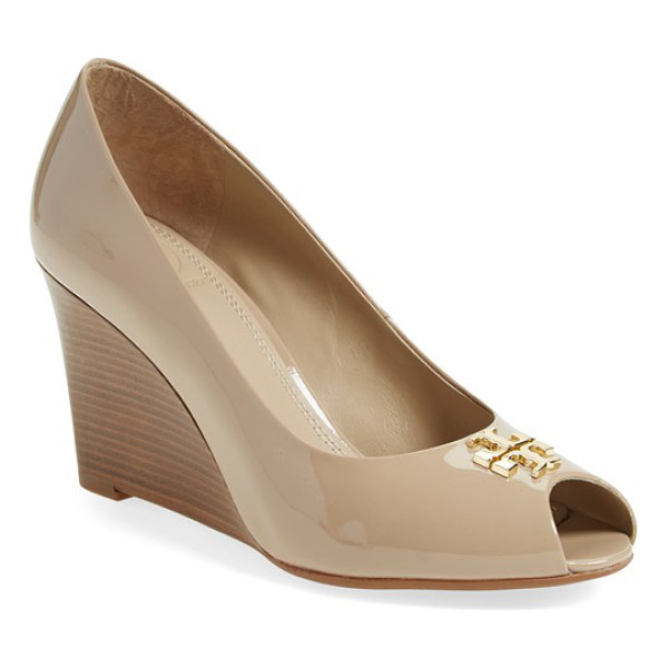TORY BURCH jade peep toe wedge - A signature double-T logo adds a flash of gilt shine to the...