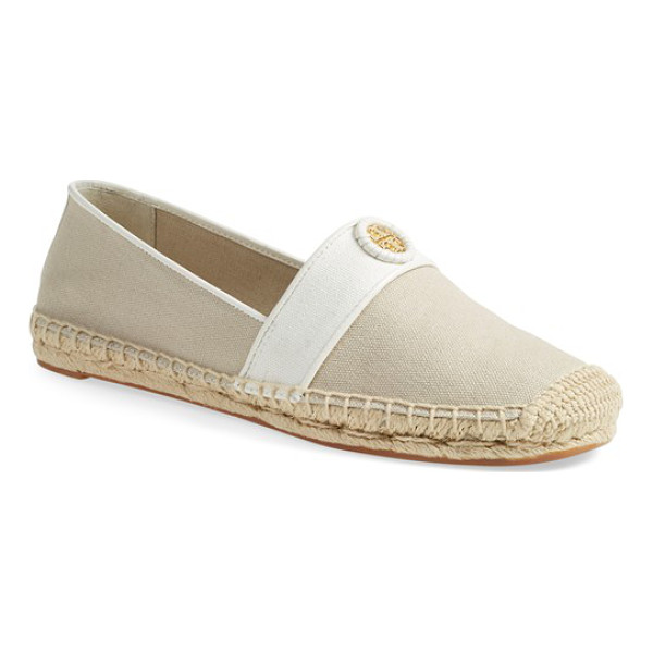TORY BURCH lacey espadrille flat - A leather-wrapped logo medallion graces the toe of a...