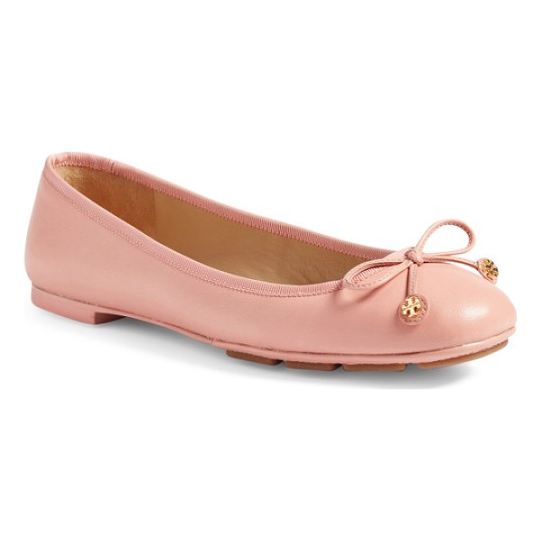 TORY BURCH laila driver ballet flat - A delicate ribbon featuring gleaming logo medallions adds