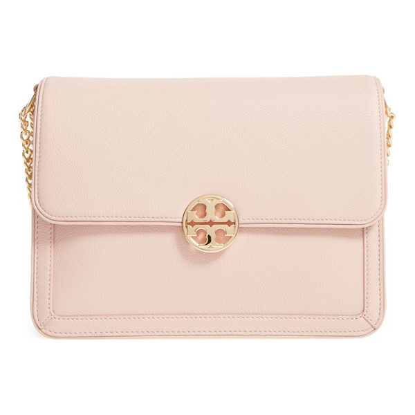 TORY BURCH large duet leather shoulder bag - Contrast gussets accentuate the clean, structured...