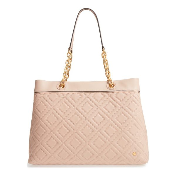 TORY BURCH lousia lambskin leather tote - Modern diamond quilting and a modest logo refine a slightly...
