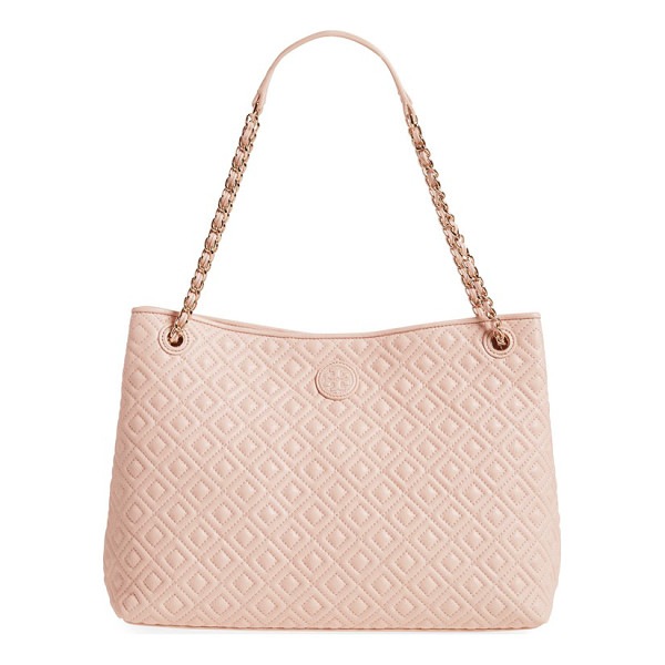 TORY BURCH Marion diamond quilted lambskin leather tote - Precise diamond quilting highlighted by...