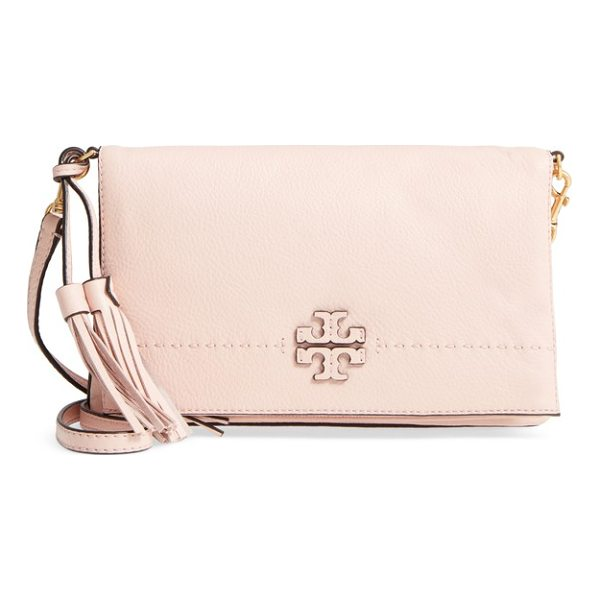 TORY BURCH mcgraw leather crossbody bag - A stacked-T logo applique brands the flap of a slightly...