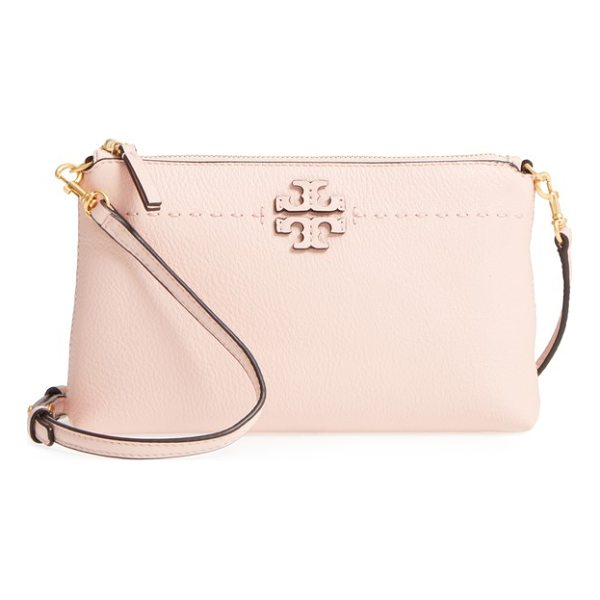 TORY BURCH mcgraw leather crossbody pouch - A stacked-T logo applique brands a slim zip-top crossbody...