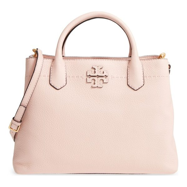 TORY BURCH mcgraw leather tote - Divided interior compartments with a center zip-pocket...
