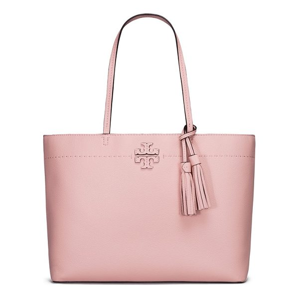 TORY BURCH mcgraw leather tote - From its elongated handles to the swingy tassel bag charm,...