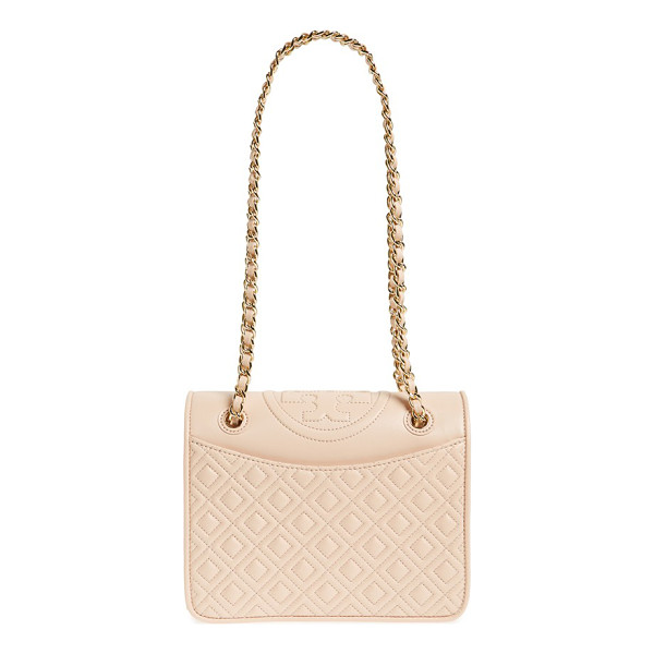 TORY BURCH Medium fleming leather shoulder bag - A topstitched logo medallion crowns a diamond-quilted...