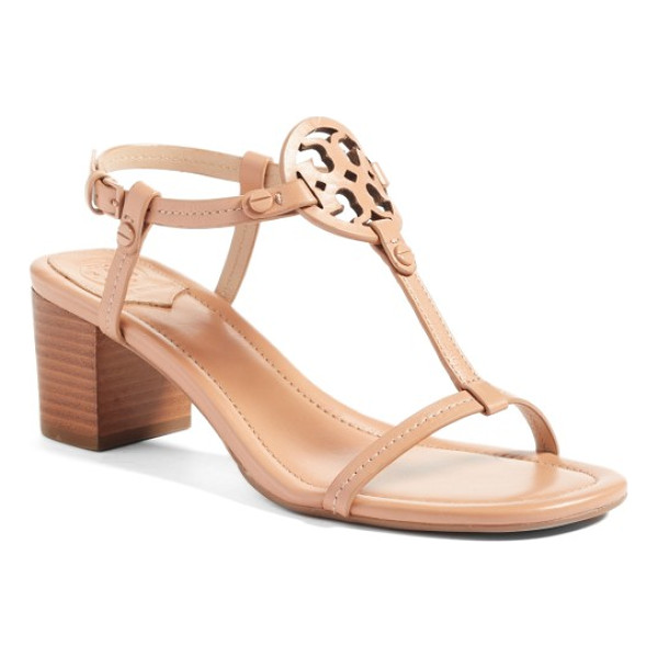 TORY BURCH miller block heel sandal - A cutout logo medallion anchors the T-strap of a barely...