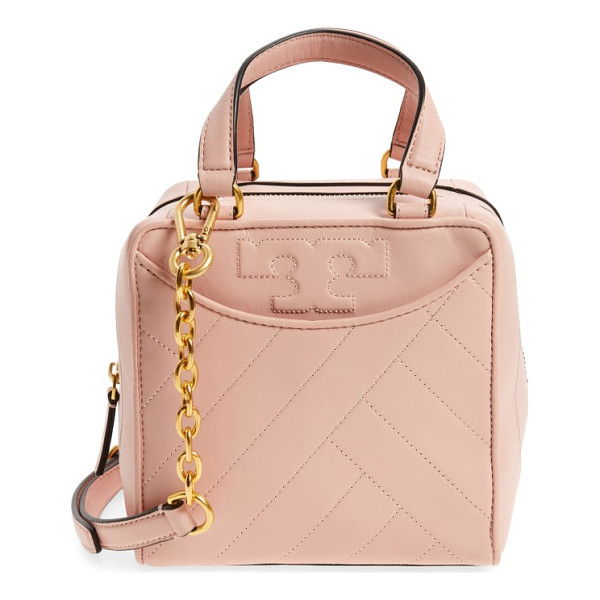 TORY BURCH mini alexa leather satchel - Modern channel quilting and stitched logos make this...