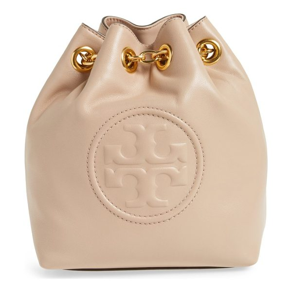 TORY BURCH mini fleming leather backpack - The brand's stacked-T logo is debossed on the front of a...