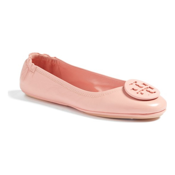 TORY BURCH 'minnie' travel ballet flat - A polished double-T logo medallion tops the rounded toe of...