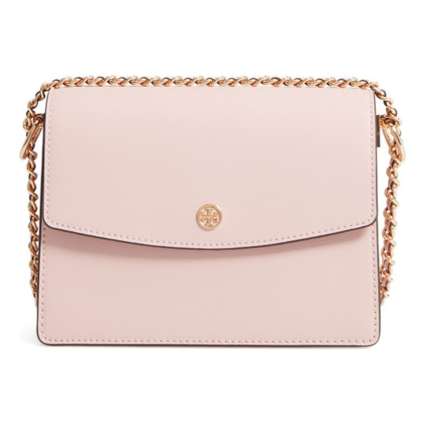 TORY BURCH parker leather shoulder/crossbody bag - A polished stacked-T logo medallion marks the flap of a...