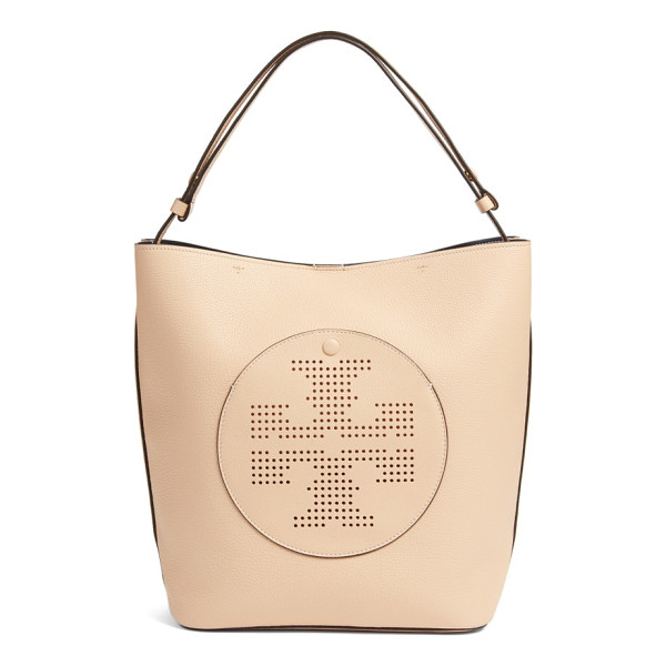 TORY BURCH perforated logo leather hobo - Updated with a perforated logo, this streamlined hobo is