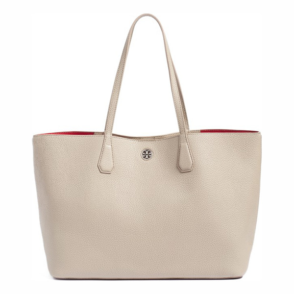 TORY BURCH 'perry' leather tote - A lightly structured tote cut from buttery pebbled leather...