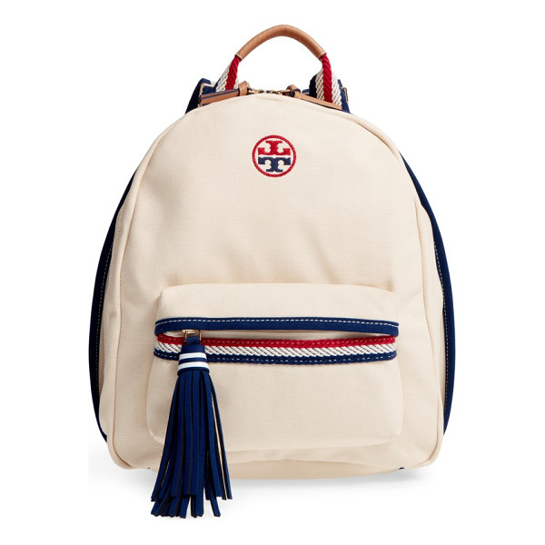 TORY BURCH preppy canvas backpack - Ropy nautical trim and straps add to the fun, preppy look