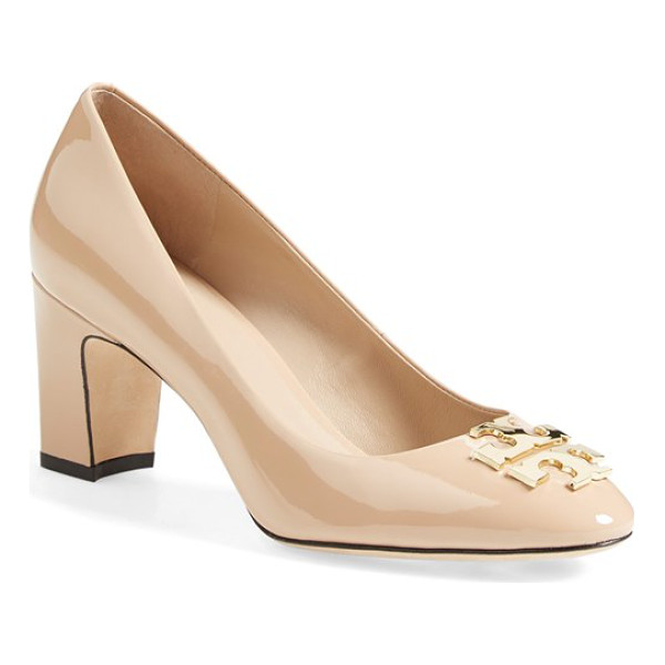 TORY BURCH raleigh patent leather pump - A inlaid, goldtone logo medallion lends signature polish to...