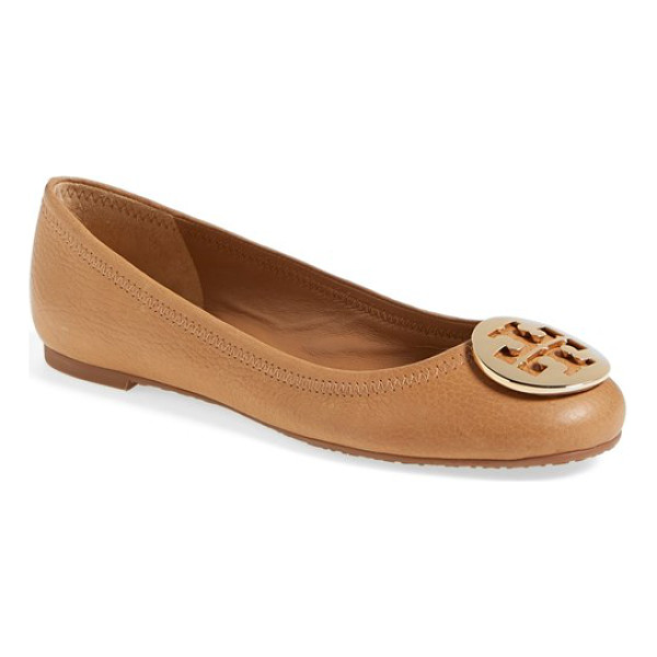 TORY BURCH reva ballerina flat - A gleaming goldtone logo medallion tops the rounded toe of...