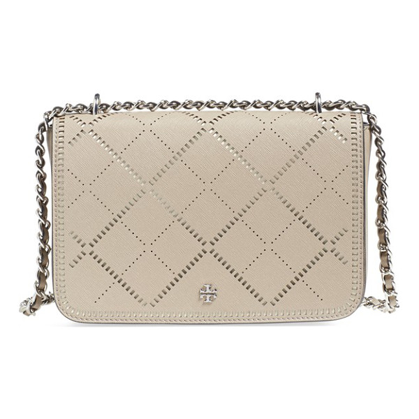 TORY BURCH Robinson - Crosshatched perforated leather lends an unexpectedly...