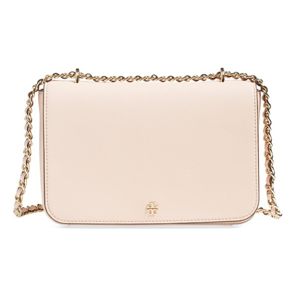 TORY BURCH Robinson leather convertible shoulder bag - Crosshatched scratch-resistant leather and golden logo...